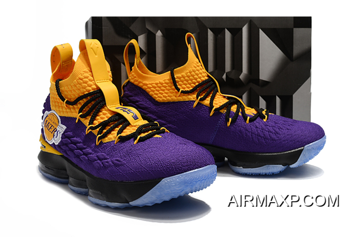 reputable site a7897 a948a Nike LeBron 15 'Lakers' Purple Yellow Discount
